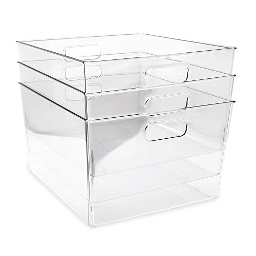 Isaac Jacobs 3-Pack XL Clear Storage Bins with Handles, Plastic Organizer for Office, Home, Kitchen, Pantry, Closet, Kids Room, Cube Shelf, Non-Slip Container Set (3-Pack, Extra-Large)