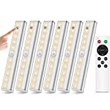 Remote Control LED Lights Wireless Under Cabinet Lighting, 20-Led Dimmable Closet Light Stair Night Lights Battery Operated, Stick on Anywhere Safe Light for Kitchen Bedroom, 3 Colors Mode (6 Pack)