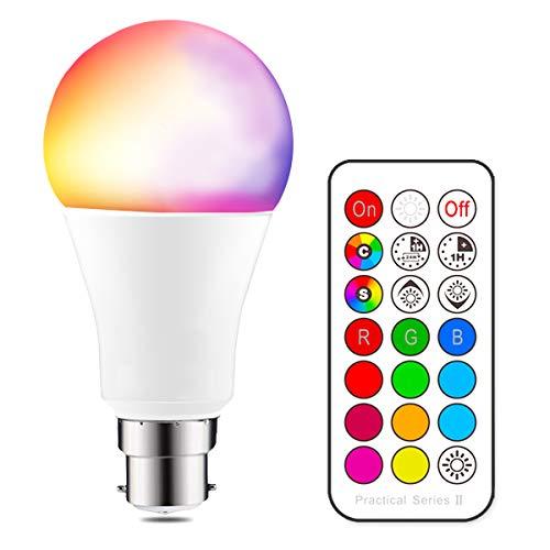 iLC Farbige Leuchtmittel LED RGBW Lampe Dimmbare Farbige Leuchtmitte Lampen 10W B22 RGBW LED Birnen[2017 Zweite Generation] - Dual Memory - 12 Farben - Kabellos Fernbedienung inklusive