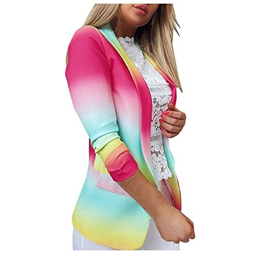 YANFANG Mujer Tie-Dye Gradiente De Manga Larga, Oficina Casual PequeñA Chaqueta Punto,Chaqueta Larga para Traje Negocios Tipo CáRdigan