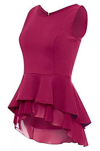 Laeticia Dreams Damen Bluse Schößchen S M L XL, Farbe:Weinrot, Größe:36