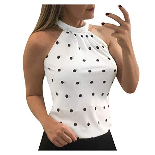 Geilisungren Damen Mode O-Ausschnitt Ärmellos Schulterfrei Tank Tops Polka Dots Oberteile Zurück Schlüsselloch Slim Fit Weste Große Größen T-Shirt Gr.S-5XL