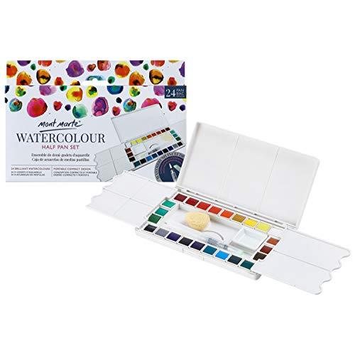 MONT MARTE Acuarelas - 24 Colores Brillantes - Incluye Pincel de Agua y Taza de Cerámica - Alta pigmentación - Ideal para Acuarela - Perfecto para Principiantes y Profesionales