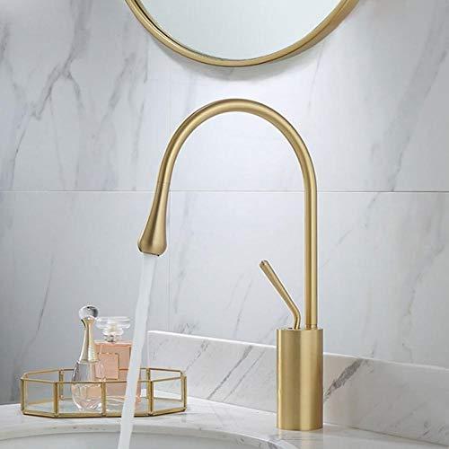 Grifo de baño Grifo de lavabo Cuenca Grifos cepillado Color Oro baño de mezclador del grifo de latón grifo del lavabo sola manija de la grúa for Baño-cepillado Oro 1 ( Color : Brushed gold 1 )