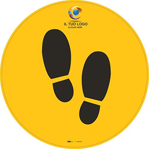 stickers floor label Emergenza sanitaria Covid 19 Adesivi please stop here calpestabili antiscivolo 5 pz - 30 x 30 cm personalizzati con il tuo nome o logo (giallo)