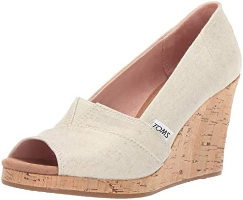 TOMS Women s Classic Wedge Sandal Gold Shimmer Canvas 5 product image