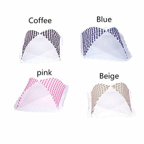 Yalulu 4Pcs 32cm*31cm Grille Pop-up Cloche Anti-Insectes Cloche Alimentaire Aliments Tente Pliable en Filet Tissu Couvercle moustiquaire