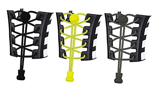 Ducomi ElasticShoes Lot de 3 paires de lacets élastiques pour enfants et adultes, réfléchissantes et autobloquantes Fonctionnelles pour marathon, triathlon Atleti et personnes âgées (3 couleurs)
