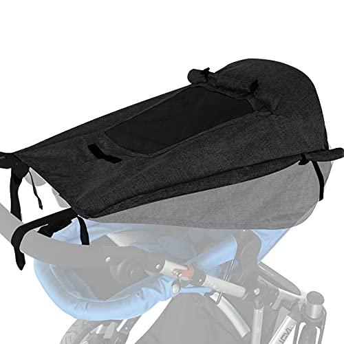 WD&CD Impermeable Funda para Cochecito de Bebé, Toldo Oscuro Universal para Bebés Cochecitos- Parasol Ajustable con Protección UV 50+, Negro