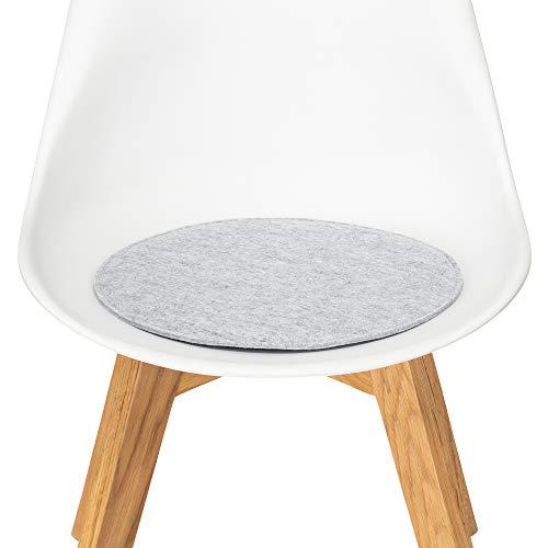 FILU Sitzkissen aus Filz 2er-Pack Hellgrau rund (Farbe und Form wählbar) 35 cm – Sitzkissen für drinnen und draußen, Deko für jeden Stuhl im Wohnzimmer oder Esszimmer, Gartenstuhl/Balkonstuhl