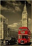 Leinwand Poster Vintage London Rot Bus Poster Retro