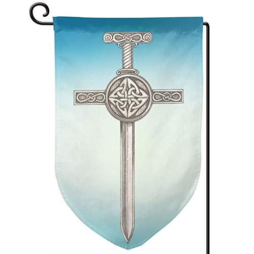 Celtic Cross Ancient Celtic Symbols Yard Flag 12.5x18 In Banner Party Seasonal Outdoor Garden Flags Double Sided Thanksgiving Balcony Flags Decorative For Outside Flag (Not including flagpole)