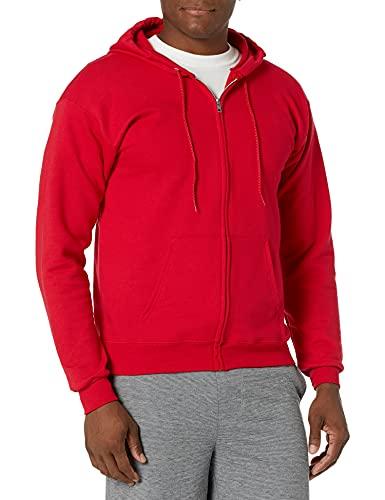 Hanes Men's Full-Zip Eco-Smart Hoodie, Deep Red, Medium