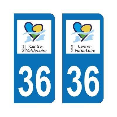 Zone-Stickers 2 Autocollants Plaque Immatriculation 36 Centre-Val de Loire Indre - Arrondis