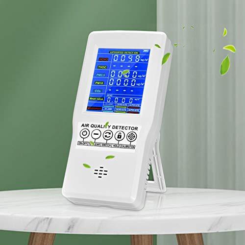 KKTECT Detector de Calidad del Aire Analizador de TVOC HCHO CO2 PM2.5 PM10 AQI Dispositivo de Detección de Contaminación del Aire Recargable para Vida de Calidad