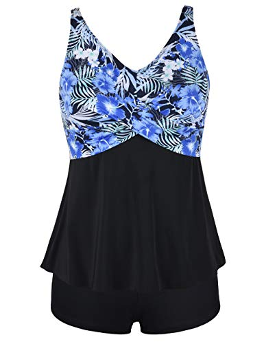 Septangle Women's Two Piece Swimsuit V Neck Flounce Printed Tank Top with Boyshorts Bottom Tankini Set,Blue,US 26W