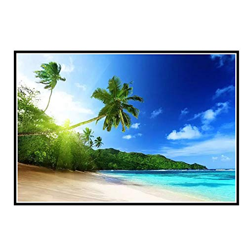 DrCor Nicoleshenting Sunshine - Tropical Sea Beach Skyline Nature Art Poster Print Plam Trees Paisaje Pared -50x70 cm Sin Marco 1 Uds