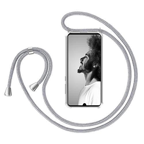 ZhinkArts Collana Porta Cellulare Compatibile con Huawei P30 - Custodia da Collo per Smartphone, Nastro - Cover con Cordoncino da Indossare - Bianco/Argento