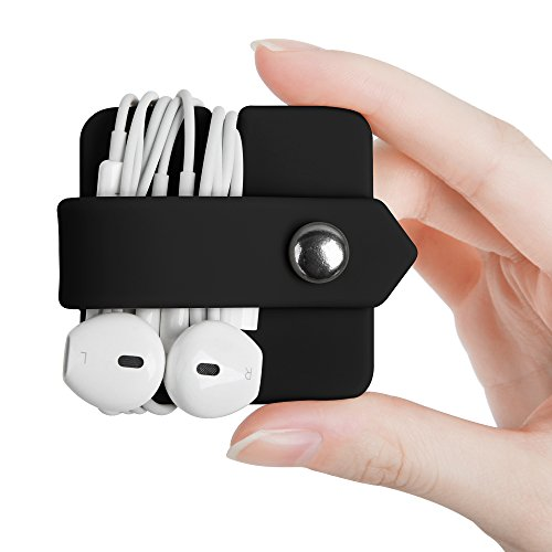 ELFRhino Headphone Case Cord Organizer Earbuds Holder Earphones Case Wrap Winder Headset Keeper Cord Manager Cable Organizer Black