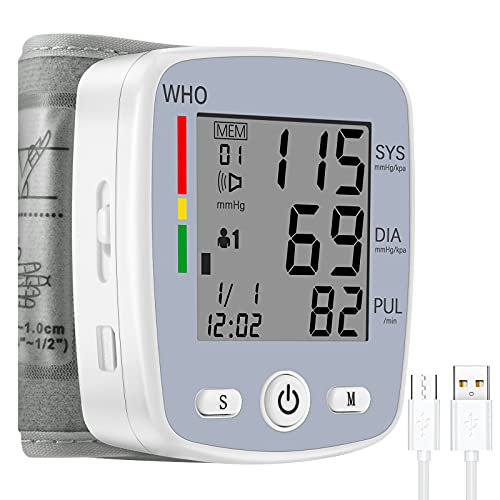 Wrist Blood Pressure Monitor,TSAI Portable BP Monitor Irregular Heart Beat Detection Cuff Automatic with Large Display Screen Support Charging Supply for Home Use (Grey)