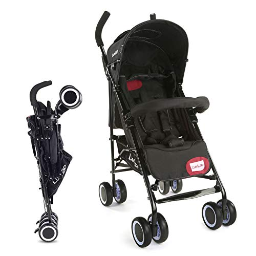 LuvLap City Stroller/Buggy, Compact & Travel Friendly, for Baby/Kids, 6-36 Months (Black)