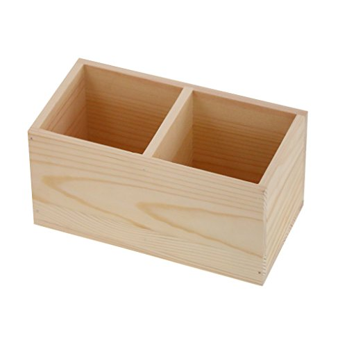 Caja de control remoto de madera porta Caddy, contenedor organizador de escritorio para escritorio, mandos a distancia, suministros de oficina, lápices de plumas (2 compartimentos)