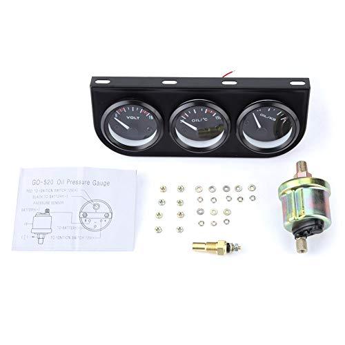 Yctze Kit de medidor universal 3 en 1, voltímetro de medidor de temperatura de agua del medidor de presión de aceite de coche de 52 mm 12V