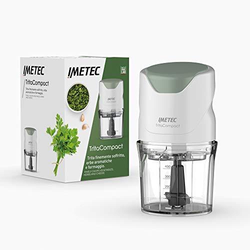 Imetec TritaCompact Picadora de alimentos, cuchillas de acero inoxidable, capacidad del recipiente de 400 ml, funcionamiento a presión, compacta, 350 W