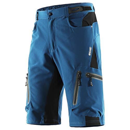 ARSUXEO Pantalones Cortos de MTB para Hombres Pantalones Cortos de Ciclismo para Bicicletas Secado Rápido Transpirables Sueltos para Ciclismo de Montaña Deporte Exteriores