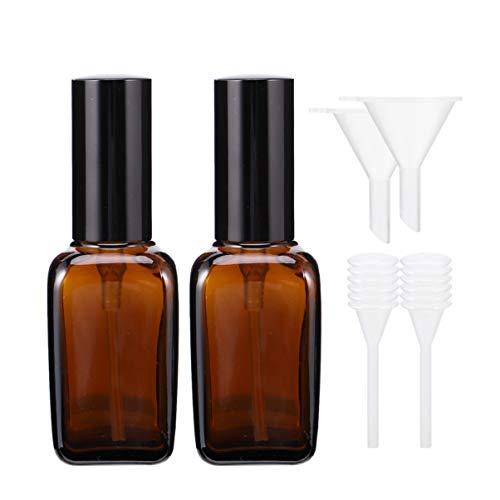EXCEART 6Pcs Flacons de Pulvérisation en Verre Ambré 50 ML Flacon Pulvérisateur de Pulvérisateur de Brume Vide avec Compte-Gouttes en Entonnoir pour Maquillage Fournitures de Soins de La