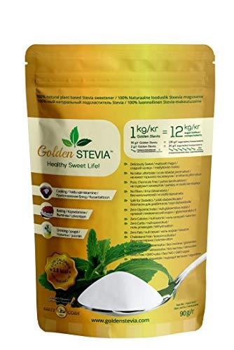 Golden Stevia edulcorante pura en polvo 90gr = 1kg de reemplazo de azúcar 1:12 Stevia polvo zero carb dieta cetogenica, diabeticos, veganos, polvo de hornear