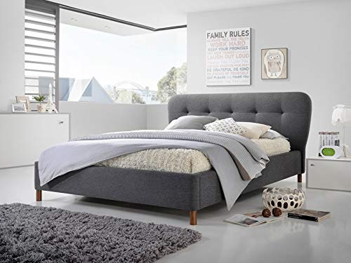 The Emma Grey by Cadar| Dark Grey Upholstered Fabric | Simple & Versatile Design | Platform Bed | Padded Headboard | Malaysian Wood Bed Frame | Wooden Mattress Supports | 160 x 200 cm