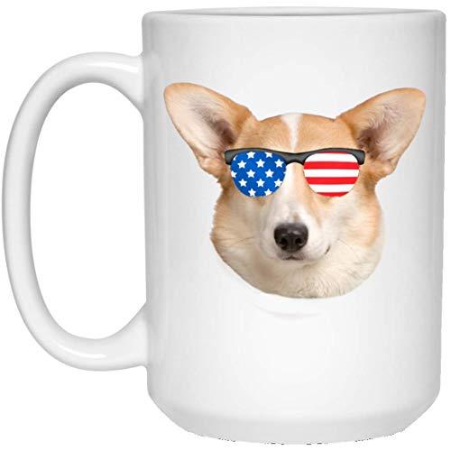 N\A Divertido cárdigan Welsh Corgi Dorado con Bandera Americana, Gafas de Sol, Taza Blanca