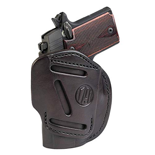 1791 GUNLEATHER 4-Way SIG P938 Holster - OWB and IWB CCW Holster - Right Handed Leather Gun Holster - Fits Sig Sauer P938, P365 Ruger LCP 380 and SW Bodyguard - Signature Brown