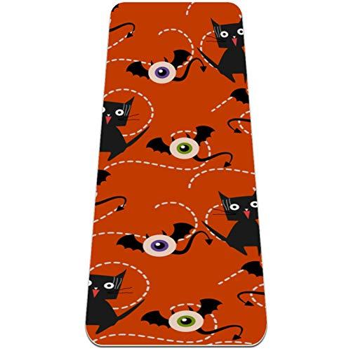 ZEH Eco amigable Alfombra de Yoga Ejercicios Antideslizantes Mat y cojín óptimo Alfombra de Entrenamiento for Las Mujeres Hombres Fitness (72'x 24' x 6mm) Anaranjado Monster Cat FACAI