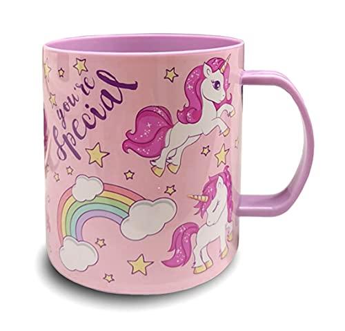 Tazza in plastica da 350 ml a scelta: Minnie – Princess – Frozen – PawPatrol – Tazza con manico in plastica senza BPA – adatta al forno a microonde – Ragazze riutilizzabile (unicorno)