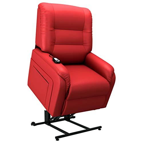 Irfora Aufstehsessel Fernsehsessel Relaxsessel Elektrischer TV Sessel mit Aufstehhilfe Liegefunktion Liegesessel Relaxliege Wohnzimmer Ruhesessel, Rot Kunstleder