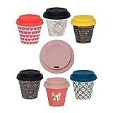 Quy Cup Taza de Café Espresso de Bambú -Set de 6. 90ml. Tazas Reutilizables Para Viaje. Exclusivo Diseño Italiano. Hechas de Fibras Naturales. Sin BPA. Café Para Llevar