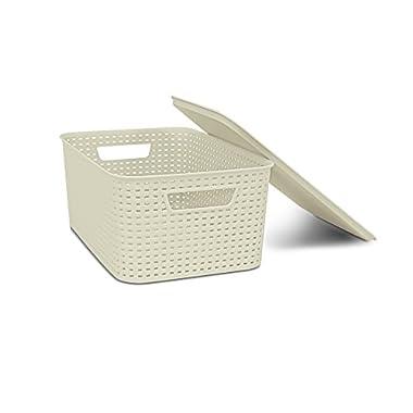 HOMZ Lid, Storage, Stackable, Medium, Plastic, Cream Woven Bin