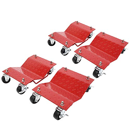 3' Auto Dolly Wheel Dolly New Car Dollies Wheel Tire 12 x 16' Repair Slide Red Total 4000 Lbs - 1000 Lbs Each Set of 4