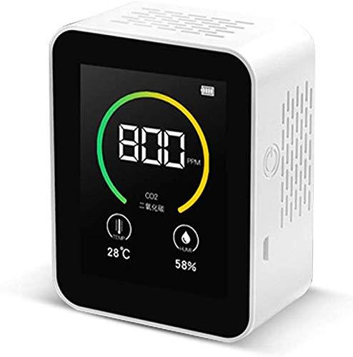 CO2 Messgerät Luftqualität, CO2 Melder 400-5000PPM Messbereich Intelligenter Gasmelder Lufttester Kohlendioxid Detektor mit Temperatur-Feuchtigkeits-Anzeige Gaskonzentration Inhalt TFT Farbbildschirm