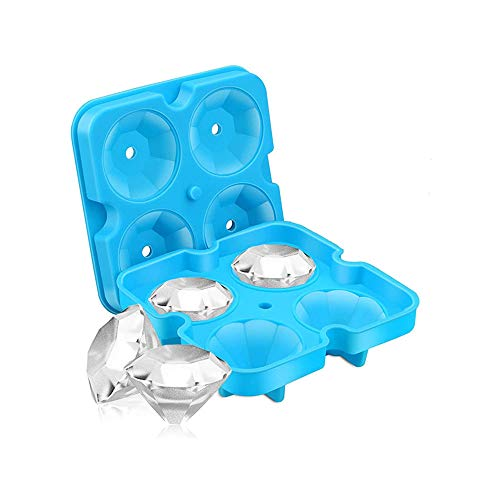Ice Cube Molds Diamond, Reusable 3D Silicone Ice Cube Tray with Lid, Flexible 4 Capacity Ice Maker for Chilling Whiskey Cocktails, Baby Food, Portion Control, Freezing Sauces, Funnel Included (Blue)