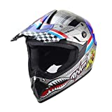Yvonnelee - Casco de motocross para hombre y mujer, 4 Seasons Cross-Country, casco de protección completa para moto, casco de carreras, set con máscara de gafas y guantes para adultos, unisex, niños