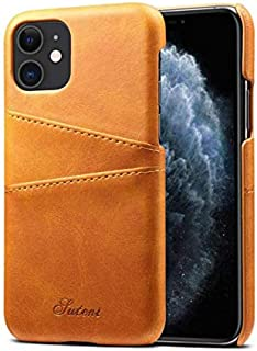 Apple iPhone 11 phone case 6.1 inch leather back cover with card holder all-inclusive anti fall protective sleeve brown