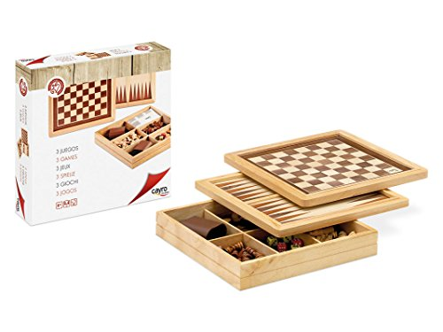 Cayro - Juego marquetería ajedrez, Damas y Backgammon (603)