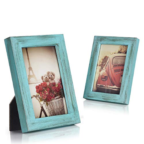Emfogo 4x6 Picture Frames Photo Display for Tabletop or Wall Mount Solid Wood High Definition Glass Photo Frame Pack of 2 Vintage Cyan