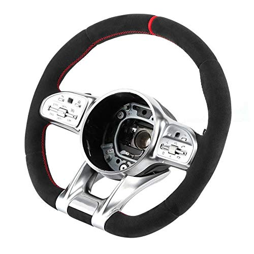 JINGXIANG Rahmenabdeckung Trim Vollveloursleder-Lenkrad Montagesitz for AMG Performance Passend fit for Mercedes-Benz A/B/C/E/S/G/GLC/GLE Klasse C63 E63 S63 Lenkrad Verkleidung