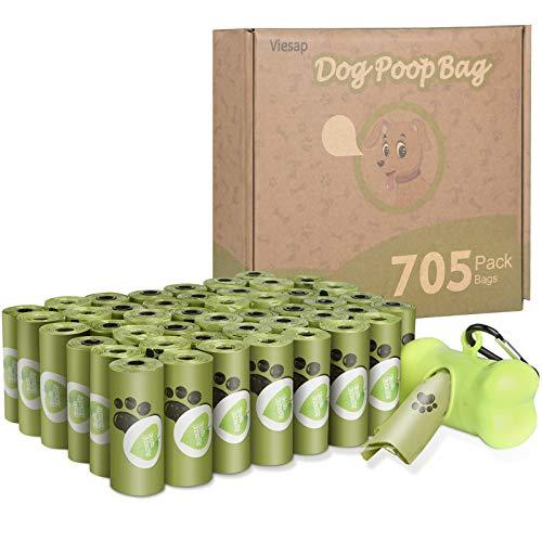 Viesap Sacchetti per Cani, 705 Pezzi Dog Poop Sacchetti Dog Sacchetti di Rifiuti con Dispensers, Extra Spesso A Prova di Perdite Dog Poo Bags Fatti da Amido di Mais, Verde Sacchetti per Cani.
