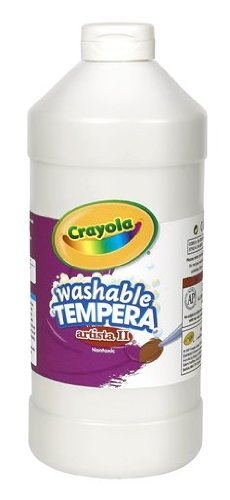 Crayola Tempera Washable Paint 32-Ounce Plastic Squeeze Bottle, White