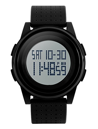 Digital Sports Watch Water Resistant Outdoor Electronic Ultra Thin Waterproof LED Military Back Light Black Men's Wristwatch 1206